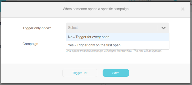 When someone opens a specific campaign trigger pop up | Trigger once