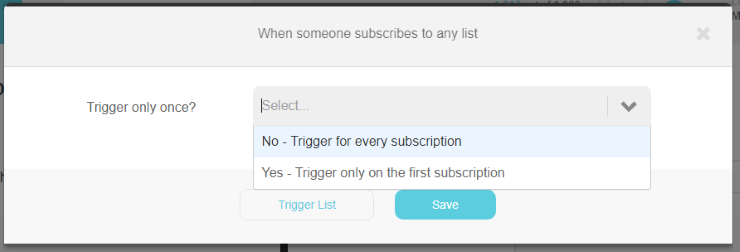 When someone subscribes to any list trigger pop up