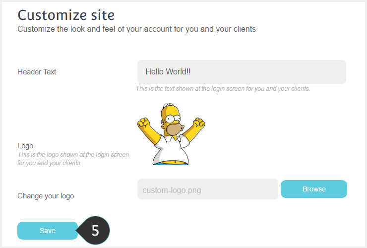 Customize Account Logo Step 5 : Click Save for the changes to apply