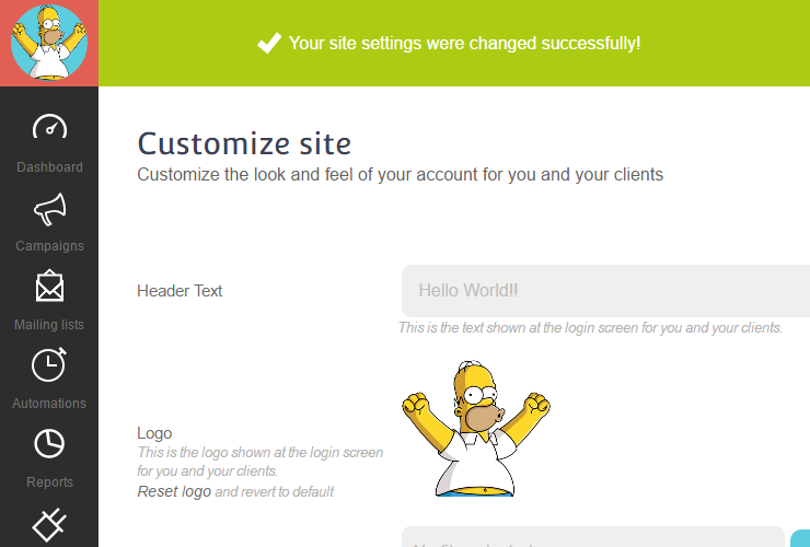 Customize Account Logo Step 6 : Check your new logo on the top left of the page