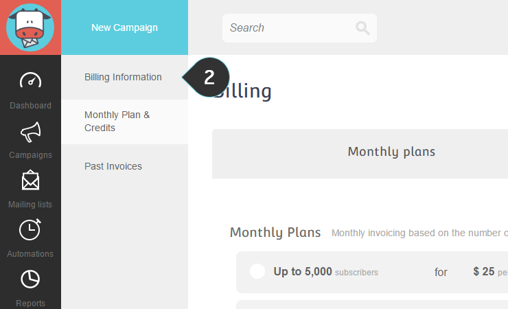 Update Billing Information Step 2  : Click on the Billing information button