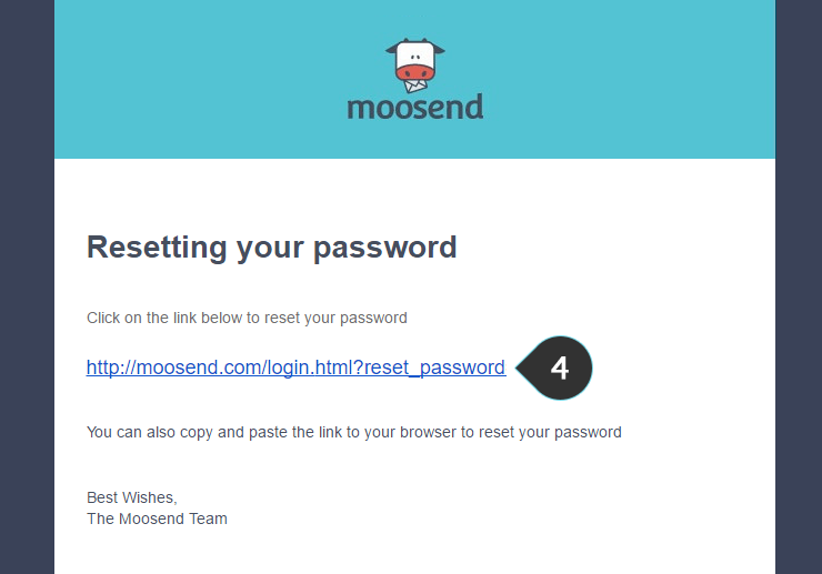 Forgot Password Step 4 : Click on link in confirmation email