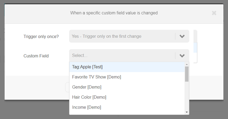 Specific custom field is changed trigger | Step 2