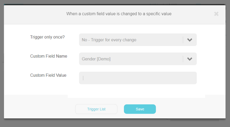 Custom field value change to specific value trigger | Step 3