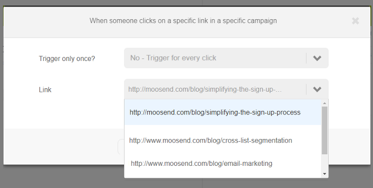 When someone clicks on a specific link in a specific campaign trigger | Select link
