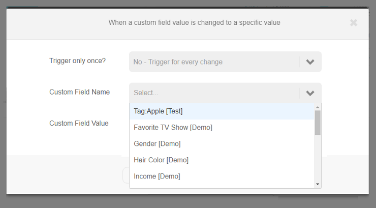 Custom field value change to specific value trigger | Step 2