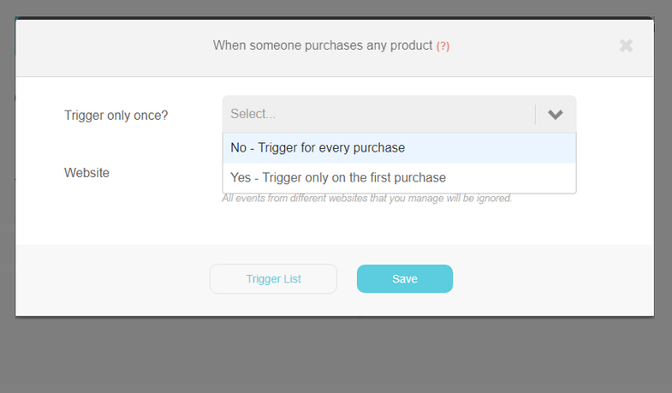 When someone purchases any product trigger | Step 1