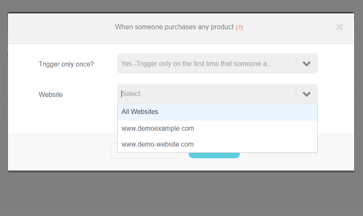 When someone purchases any product trigger | Step 2