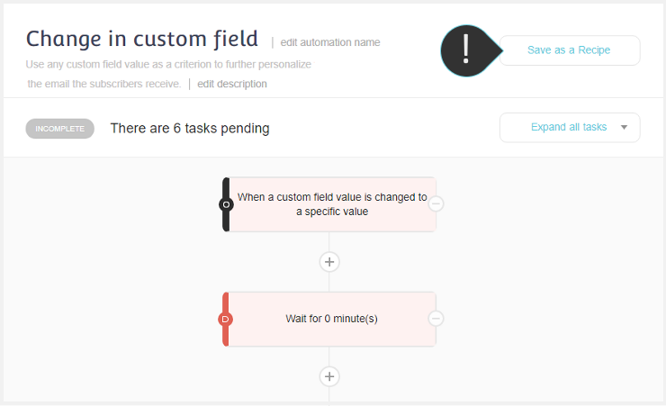 Custom field change automation | Changing the recipe