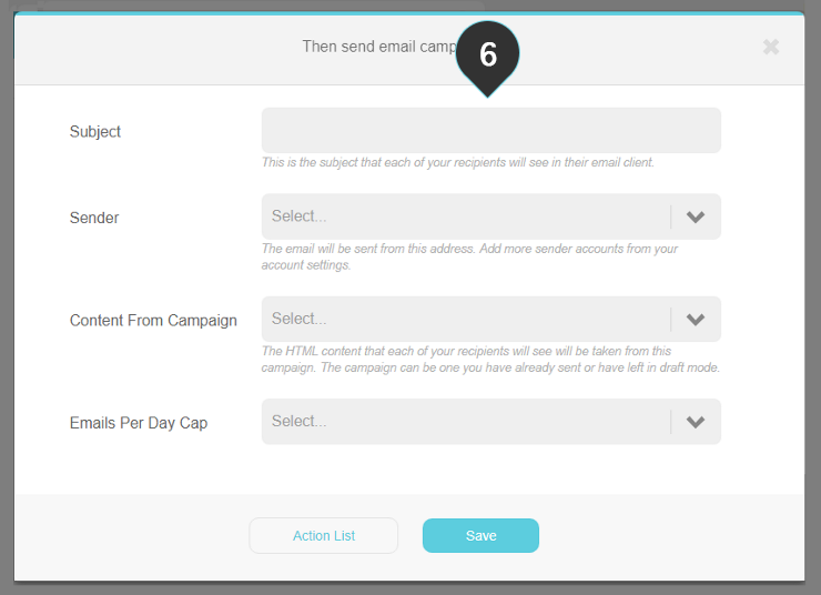 Custom field change automation Step 6 : Fill in the campaign options