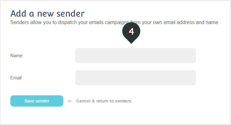 Set up Sender Step 4 : Set the name and email address of the sender
