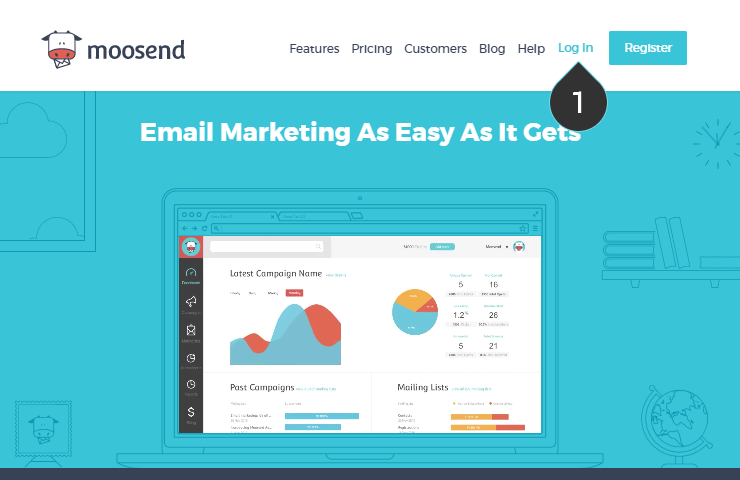 Login your Moosend email marketing account Step 1