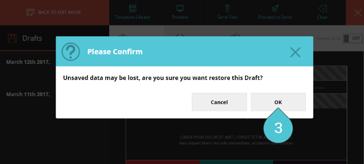 Load Draft 3 : Click OK to proceed