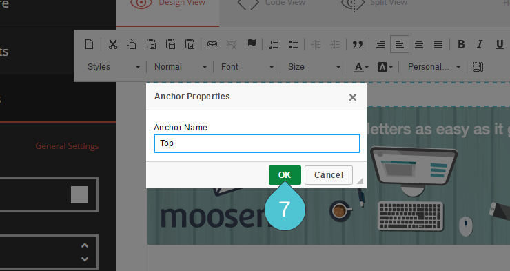 Editor Adding an Anchor Step 7 : Click on the OK button