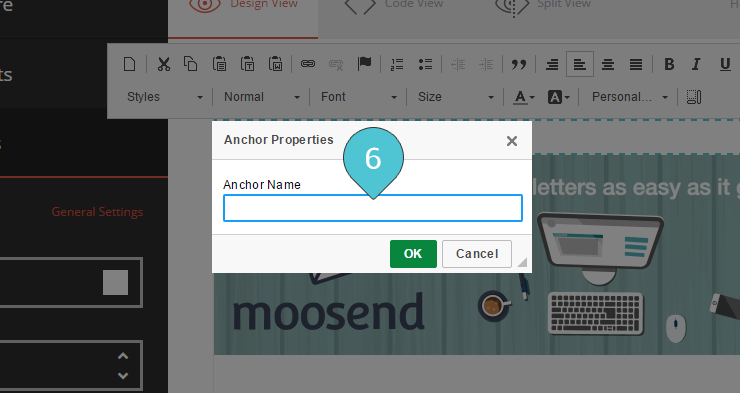 Editor Adding an Anchor Step 6 : Type in a name for your anchor