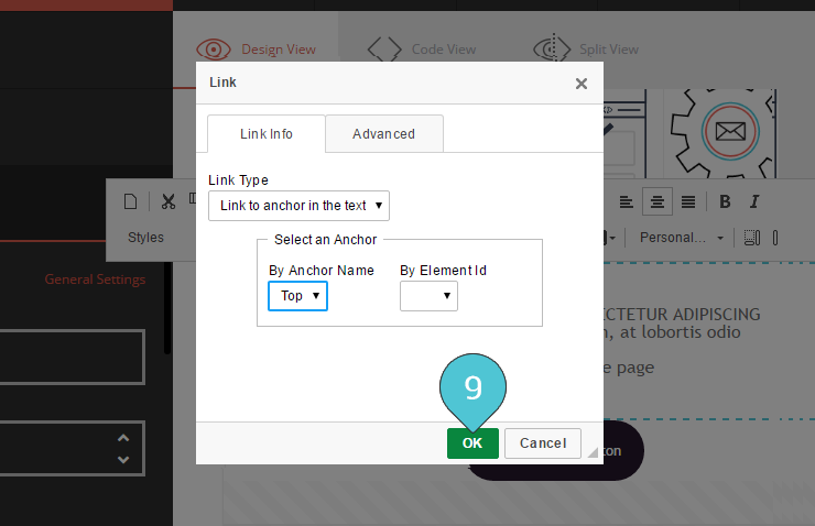 Add Anchor link Step 9 : Click OK