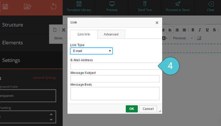 Add Email link Step 4 : Fill in the email address
