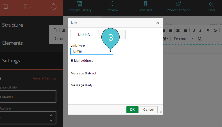 Add Email link Step 3 : Select the Email option from the Link Type list