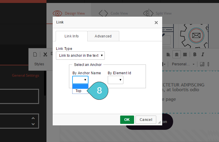 Add Anchor link Step 8 : Select the correct anchor name