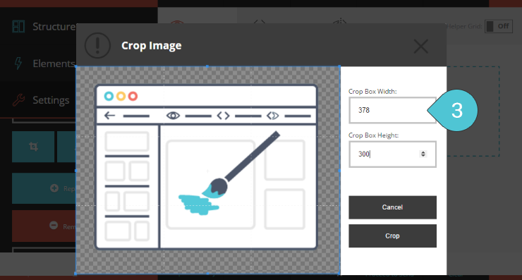 Crop the Image Step 3 : Set the width of the crop box