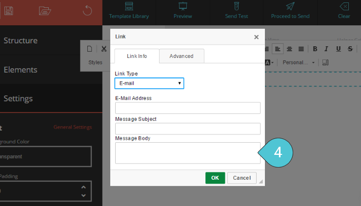 Set up an Email link Step 4 : Type in the message body
