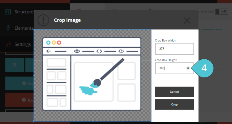 Crop the Image Step 4 : Set the height of the crop box