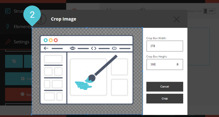 Crop the Image Step 2 : Click n drag the sides and corners of the crop box