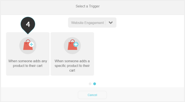 Setting up a trigger Step 4 : Choose when someone adds any product to their cart