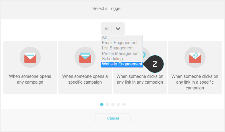 Setting up a trigger Step 2 : Select Website Engagement from the dropdown list