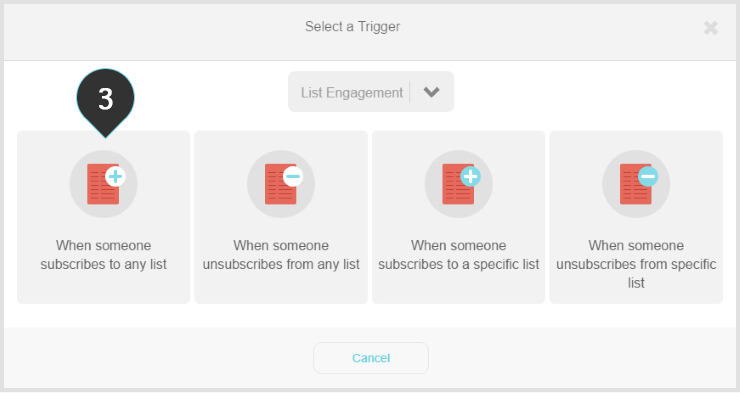 Setting up the trigger  Step 3 : Select when someone subscribes to any list