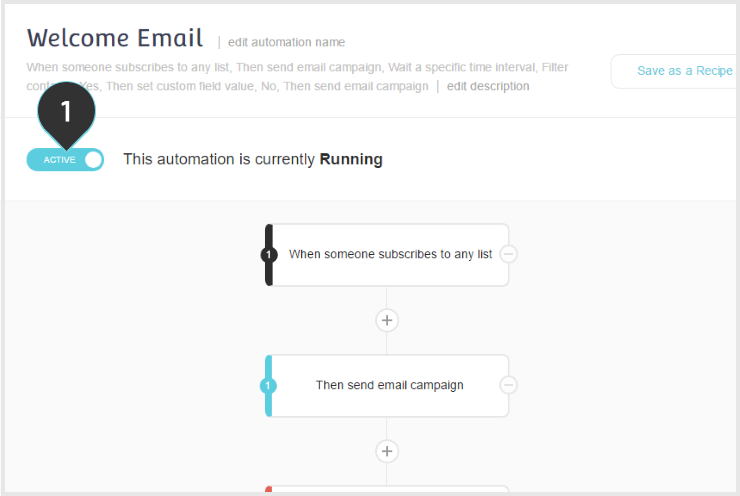 Activating/Deactivating your Automation | Step 1 : Toggle the Active Inactive button