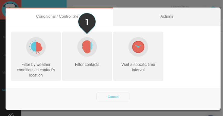 Filter contact Step 1 : Select the Filter contacts option