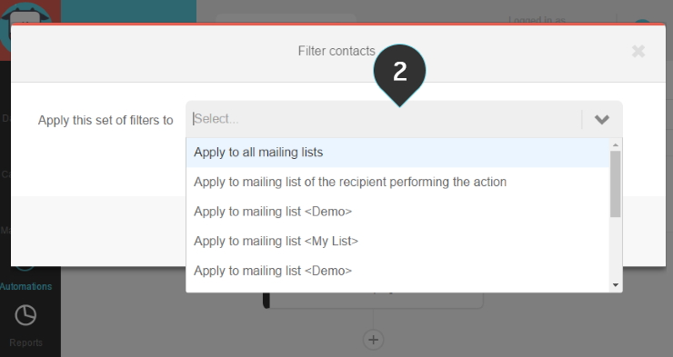 Filter contact Step 2 : Choose the mailing list to which this set of filters will apply