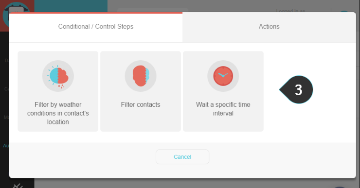 Using Condition/Control Steps Step 3 : Select the type of the conditional/control step