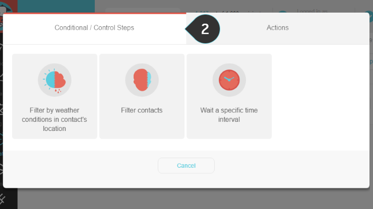 Wait interval control Step 2 : Choose the Conditional/ Control Steps tab