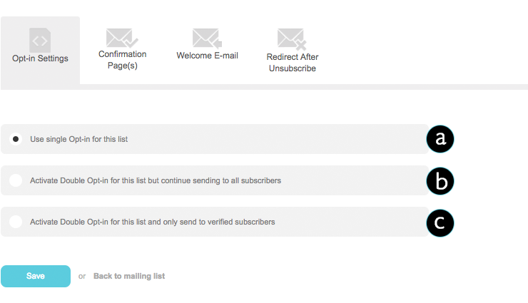 What are the different Opt-in Settings for mailing lists?