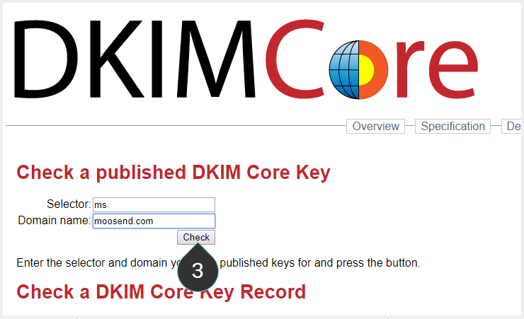 Check SPF and DKIM Step 3 : Click on the Check button