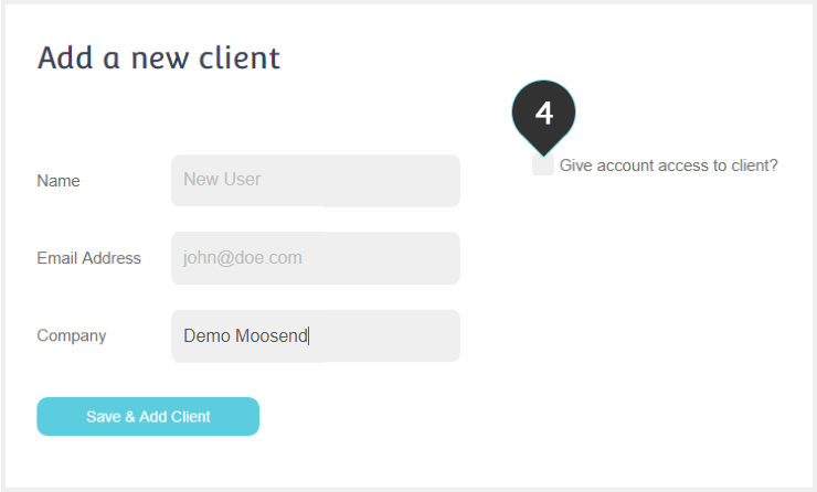 Create Sub-Account Step 4 : Check the box to give access to the client