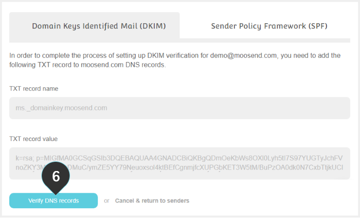 DKIM Records Step 6 : Click on the Verify DNS button