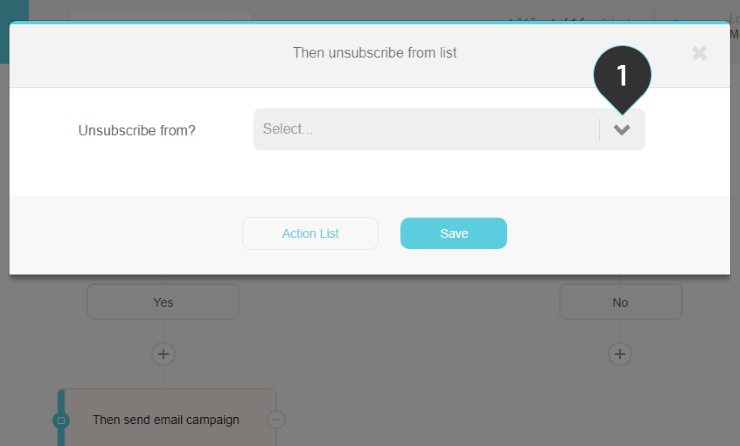 Unsubscribe from list action Step 1: Select a mailing list