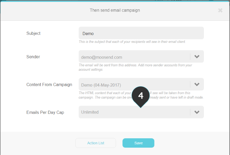 Send email campaign action Step 4 : Select the maximum number of emails sent by this action per day