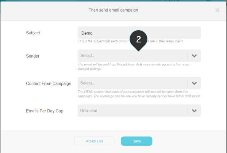 Send email campaign action Step 2 : Fill in the sender of the email