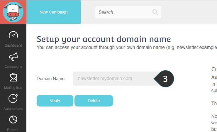 Customize URL Step 3 : Type in the new URL