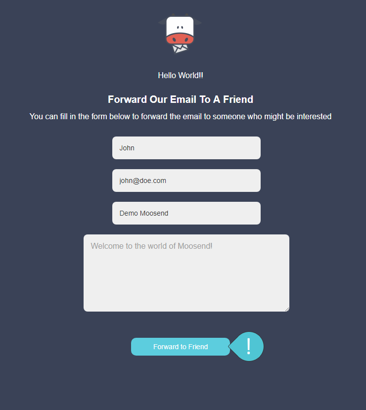 Forward to a friend Step 2 : Click on the Forward to friend button