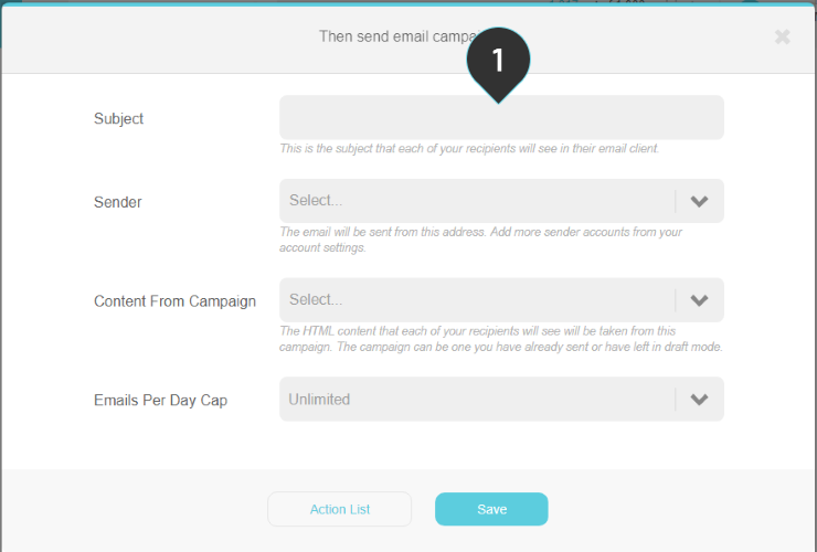 Send email campaign action Step 1 : Fill in the subject of the email