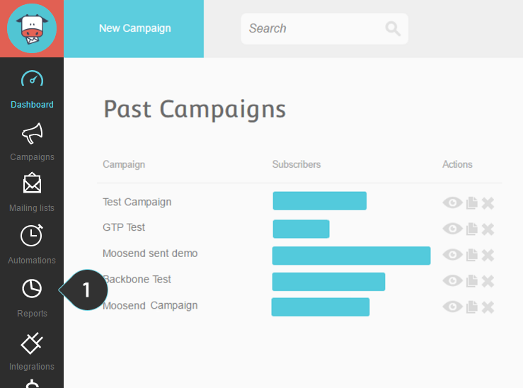 Click on the Reports button on the menu to see the email marketing reports for your campaings