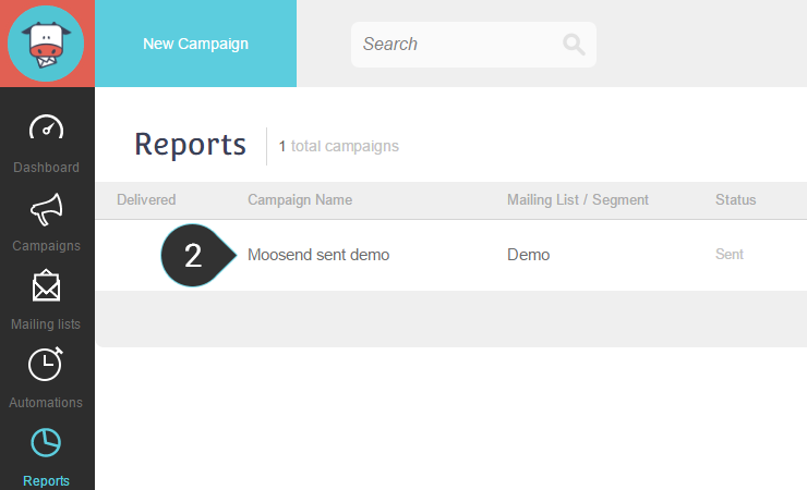 Click on an email marketing campaign to view its reports