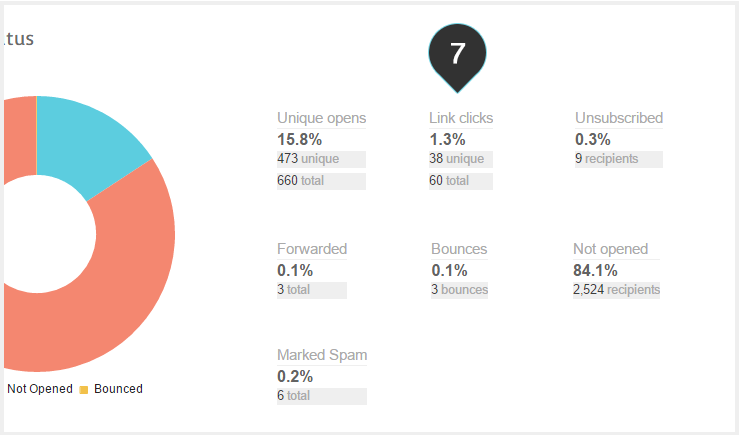 Campaign Overview Step 7 : You can also see other statistics such as Bounce rate, link clicks etc