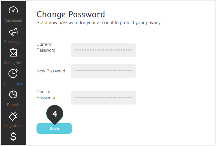 Change Password Step 4 : Click the Save button