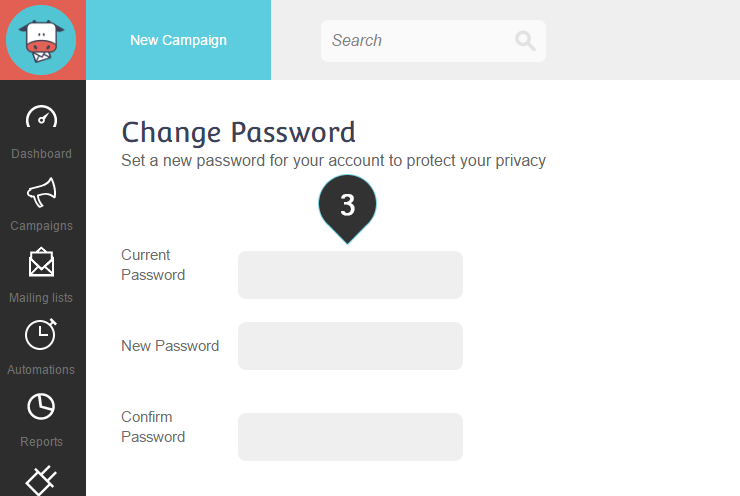 Change Password Step 3 : Fill in the password fields